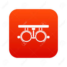 Red Checking Trial Frame For Checking Patient Vision Icon Digital Red