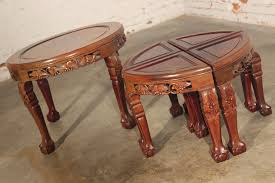 vintage asian carved round low rosewood table with 4 pie shaped stools