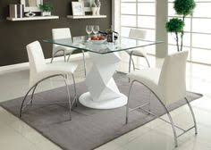 halawa iii collection contemporary style white finish counter height pedestal and square gl top dining table set