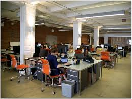 creative office space ideas. Marvelous Creative Office Space Idea With High Ceiling And Orange Mesh Back Chairs Inspiring Interior Ideas
