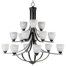 maxim lighting axis 15 light oil rubbed bronze chandelier with frosted shade