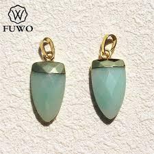 fuwo stone pendant 24k electroplated high quality teeth shape natural stone boho jewelry for diy