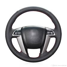 mewant diy black genuine leather steering wheel cover wrap for honda accord 8 2008 2016 pilot 2009 2016 odyssey 2016 2017 crosstour 2016 alabama steering
