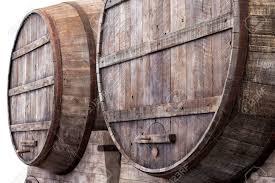 storage oak wine barrels. Large Oak Barrels In The Cellars Of A Winery, Brewery Or Distillery For Storage Wine L