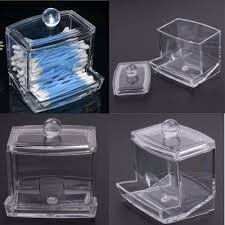 Clear Acrylic Cotton Swab Organizer Box Storage Box Cosmetic Makeup Q-tip  Storage Holder Container Make up Case with Lid