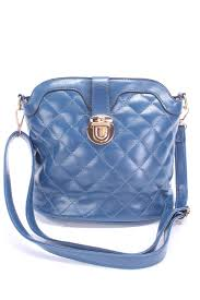Navy Faux Leather Quilted Handbag &  Adamdwight.com