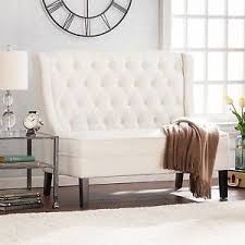 HighBackSetteeLoveseatUpholsteredBenchTuftedIvory High Back Loveseat O58