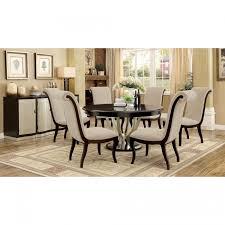 ornette contemporary espresso silver round dining set