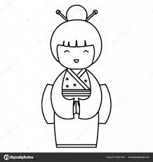 かわいい日本人形 ストックベクター Yupiramos 163921038