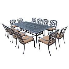 oakland living 13 piece aluminum patio dining set with sunbrella dark brown cushions
