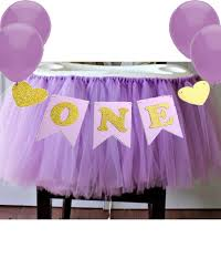 com purple 1st birthday baby tutu for high chair decoration and one pennant happy birthday for highchair toys