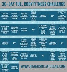 30 Day Leg Challenge Chart 30 Day Full Body Fitness Challenge