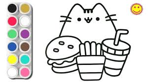 How To Draw Cute Cat And Food Coloring Pages For Kids Youtube