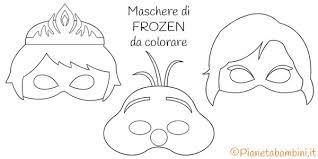 Maschere Di Elsa Anna E Olaf Di Frozen Da Colorare Disegno
