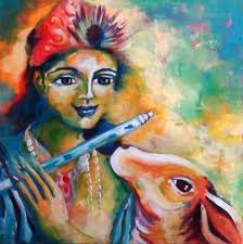 oil painting effect using acrylic paints krishna and holy cow with artyshils you