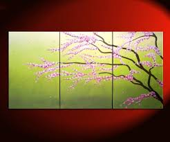large green abstract cherry blossom painting spring greens and lilac flowers fresh zen asian calming and