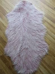 special offer dusky rose pink frosted pelt shape faux fur fluffy rug70x130cms