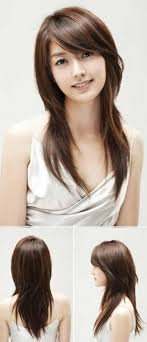 Long Layers With Side Bangs Asian Asian Side Swept Bangs Intended