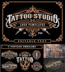 Set Of Vintage Tattoo Studio Logos Free Download