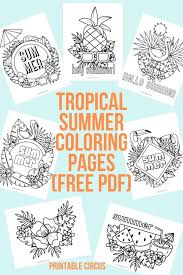 tropical summer coloring pages free