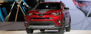 2018 toyota rav4 redesign. perfect rav4 red and black 2018 toyota rav4 adventure on stage at 2017 chicago auto  show debut in toyota rav4 redesign
