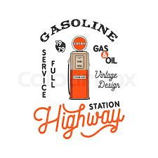 Gas Station Logo Vintage Gas Station Pump Badge Retro Stock Vector Colourbox