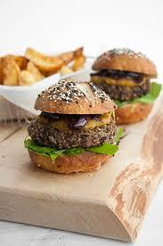 vegan mushroom burger patty with homemade pretzel buns