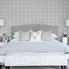bedroom wallpaper design ideas. Gray Bedroom With Mirrored Nightstands Wallpaper Design Ideas