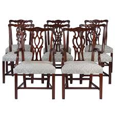 late 19th early 20th century set of eight chippendale style dining chairs