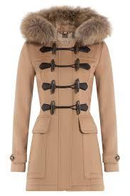 burberry wool duffle coat with fur trimmed hood color camel sxerrmp
