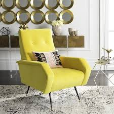 safavieh mid century modern retro aida velvet yellow club chair