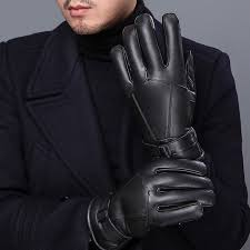 autumn winter men gloves sheeoskin leather gloves men thicker warm fleece wool glove mens gloves