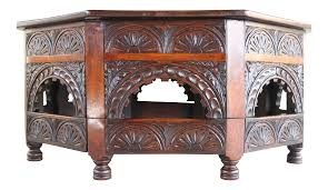 Style Coffee Table Antique Kittinger Carved Solid Rosewood Moroccan Style Coffee