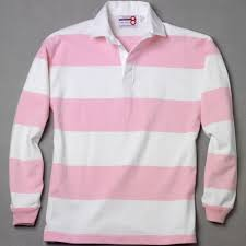white pink rugby shirt