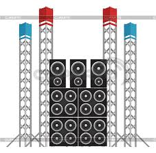concert speakers clipart. big modern concert and festival speakers with some eqipment light rigs - © albert buchatskyy clipart