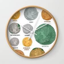 Roman Coin Chart Wall Clock By Flaroh