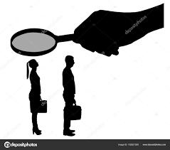 労働者男と女のベクトル シルエット女性を拡大鏡を手 ストック