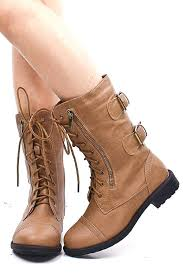 leather combat boots womens lace up and image brown military