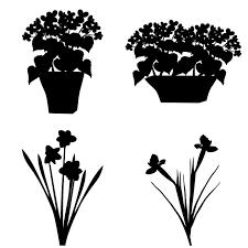 アイコン素材 シルエット 植物花のシルエット 02 無料イラスト素材