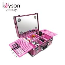 keyson pink professional makeup case with lights makeup train case with dividers cosmetic vanity cases