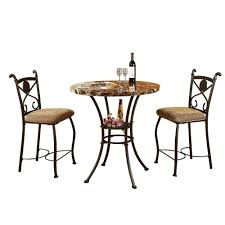 acme kleef 3 piece faux marble counter height table and chairs in dark bronze 70560 the home depot cbe heated cooled chair