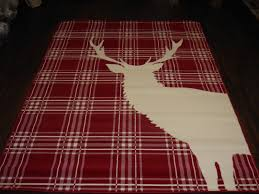 rugs approx 8x5 160x230cm woven backed stag great quality red cream checked