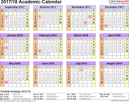 template 4 academic calendar 2017 18 for word landscape orientation year at