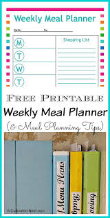 Weekly Menu Free Printable Menu Planning Sheet