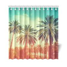 interestprint sunset tropical palm trees home decor polyester fabric shower curtain bathroom sets with hooks