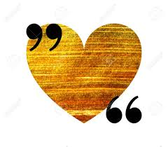 Gold Heart Quotation Mark Speech Bubble Empty Quote Blank Citation