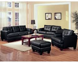Luxurious Cozy Black Leather Sofa Design In Stunning Peach Colored - Black couches living rooms