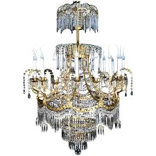 palatial large antique russian neoclassical gilt bronze and crystal chandelier for