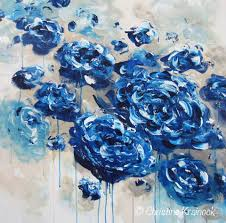 giclee print large art abstract painting blue flowers navy blue white floral canvas print botanical on navy blue flower wall art with canvas print large art blue abstract blue white flowers