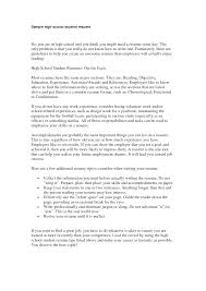 Cover Letter Objective For Resume High School Student Objective On